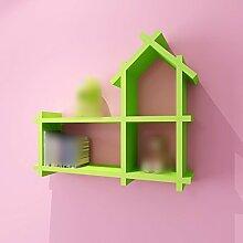 ZHIWUJIAZXM GRJH® Rack, Kinderzimmer Wanddekoration Paint Partition an der Wand Regal hängen Kreativ Kleines Haus Bücherregal Schrank Regal Gitter Wasserdicht und langlebig (Farbe : Grün)