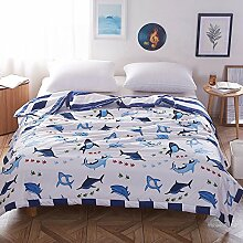 Zhiyuan Leichte waschbare 100% Baumwoll-Sommerdecke mit Haifischmuster,150x200cm