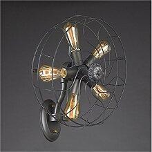 ZHIYUAN Retro industrieller Ventilator / Beleuchtung Wohnzimmer Esszimmer Schlafzimmer Nachttisch Wandlampe