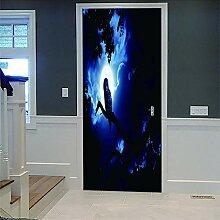 Zhoudd Türtapete Tür Blauer Sternenhimmel