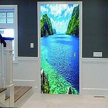 Zhoudd Türtapete Tür Blaues Meer Kreative