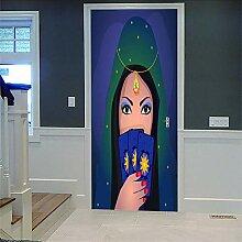 Zhoudd Türtapete Tür Comic maskierte Schönheit