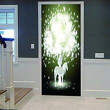 Zhoudd Türtapete Tür Glühendes Einhorn Kreative