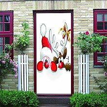 Zhoudd Türtapete Tür Netter Weihnachtshirsch