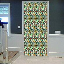 Zhoudd Türtapete Tür Retro Geometrie Kreative