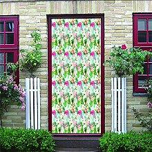 Zhoudd Türtapete Tür Rosa Blumen Kreative