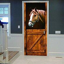 Zhoudd Türtapete Tür Stabiles Pferd Kreative