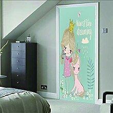 Zhoudd Türtapete Tür Süße Prinzessin Kreative