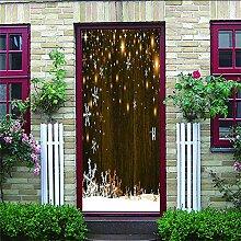 Zhoudd Türtapete Tür Vintage Holztür Sterne