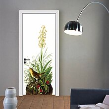 Zhoudd Türtapete Tür Vögel und Blumen Kreative