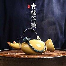 Zhouyanjun Violette Ton-Skulptur Brunnen Frosch