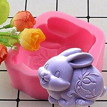 ZHQIC 3D Silikonformen Kaninchen Kerze Harz
