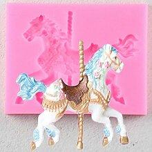 ZHQIC Karussell Pferd Form Silikon Kuchenform