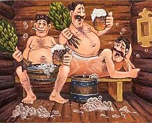 zhqingyu 5d Berühmte Gemälde Man Sauna Trinken