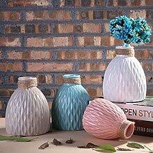 ZHUDJ Dekorationen Manuell Aufziehen Blume Vasen Keramik Schmuck Wohnzimmer TV-Schrank Bar Handwerk Möbel, Kleine Rosa