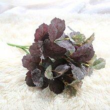 ZHUDJ Die Einrichtung Verlässt 7-Blatt Pflanze Wand Zubehör Emulation Blume Grüne Pflanze Einrichtung Blättern Und Lila Blüten.