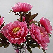ZHUDJ Emulation Blume 7 Staatsoberhaupt Reichtum Pfingstrose Blumen Künstliche Blumen Simulation Blume Pflanze Lila Blüten.