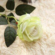 ZHUDJ Emulation Rose Pflanze Blumen Home Decor Liefert Blumen Single Rot - Gelb - Grün Pulver Blau, Hellgrün