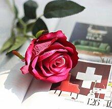 ZHUDJ Emulation Rose Pflanze Blumen Home Decor Liefert Blumen Single Rot - Gelb - Grün Pulver Blau, Ro