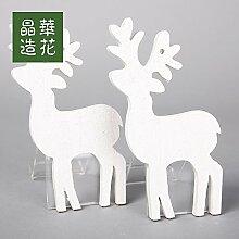 ZHUDJ Ice Crystal Holz Weihnachten Schneeflocke Socken Rotwild Weihnachtsbaum Zubehör/Ring, mit Einem 3 Beigefügt, 11Cm Rehe Weiß Klein (2 Monate/Paket)