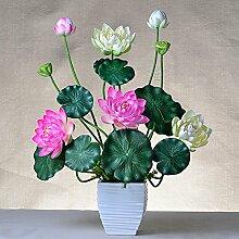 ZHUDJ Lotus Lotus Lotus Kit False Lotus Lotus Blume Dekoration Wohnzimmer Mit Floral Silk Blume, Zweifarbige Lotus + Weiß Keramik Topf Ki
