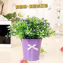 ZHUDJ Silk Blume Künstliche Blumen Künstliche Blumen Wohnzimmer Dekoriert Mit Blumen Regal Verpackt Idyllische Kleine Topfpflanzen Violett Und Lila Mailand + D.