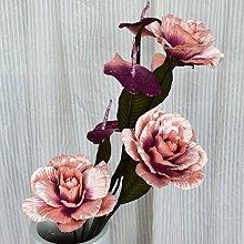 ZHUDJ Single Home Zubehör Emulation Peony Flowers Red Palm Wohnzimmer, 1-Polig, Rosa