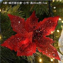 ZHUDJ Weihnachten Rot Silber Gold Rot Weihnachten Blumen Weihnachtsbäume Dekorative Accessoires Wandbehänge Rot (Klein)