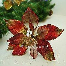 ZHUDJ Weihnachten Rot Silber-Violett Weihnachten Blumen Weihnachten Weihnachtsdekoration Hängenden Zubehör Kleine Gold Weihnachten Blumen.