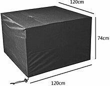 Zhuhaixmy 120*120*74cm Schwarz Tabelle Bank Würfel Möbel Set Deckung für Hülle Wasserdicht Draussen Terrasse