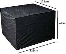 Zhuhaixmy 123*123*74cm Schwarz Garten Möbel Wasserdicht Hülle Schutz für Platz Würfel Tabelle Bank