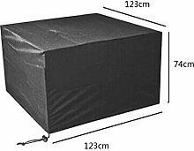 Zhuhaixmy 123*123*74cm Schwarz Tabelle Bank Würfel Möbel Set Deckung für Hülle Wasserdicht Draussen Terrasse