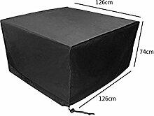 Zhuhaixmy 126*126*74cm Schwarz Tabelle Sessel Lagerung Möbel Hülle für Wasserdicht Draussen Garten Terrasse