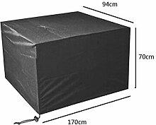 Zhuhaixmy 170*94*70cm Schwarz Tabelle Bank Würfel Möbel Set Deckung für Hülle Wasserdicht Draussen Terrasse