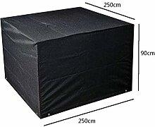 Zhuhaixmy 250*250*90cm Schwarz Garten Möbel Wasserdicht Hülle Schutz für Platz Würfel Tabelle Bank