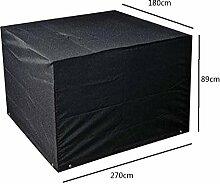 Zhuhaixmy 270*180*89cm Schwarz Garten Möbel Wasserdicht Hülle Schutz für Platz Würfel Tabelle Bank