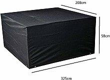 Zhuhaixmy 325*208*58cm Schwarz Garten Möbel Wasserdicht Hülle Schutz für Platz Würfel Tabelle Bank