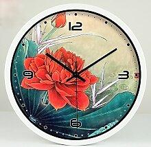 ZHUNSHI Chinesische dekorativen Stil Wall Clock Clock mute Schlafzimmer Wohnzimmer kunst Garten Glocken, 14 Zoll, weißen Metallrahmen