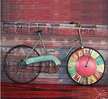 ZHUNSHI Vintage alte europäische Uhr Form hängende Wand Dekoration Shop kreative Fahrrad bar Wanduhr,Abschni