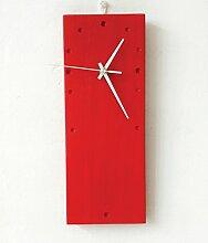 ZHUNSHI Wand-Farbe rechteckige Wand Uhr einfachen modernen Stil Deko-Wandtafeln,Ro