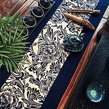 ZHUOQI Tischläufer Blau blau-weißen Baumwolle Nähen handgefertigte Tee Striped Home Textile Tischdecken Leinen Tischdecke 180x30