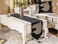 ZHUOQI Tischläufer luxuriöse Continental verdickte Präzisionsbohren heiß velveteen Pferd Striped Home Textile Tischdecken Leinen Tischdecke black 32*200