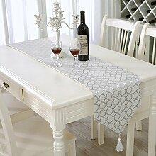 ZHUOQI Tischläufer Moderne Mode Striped Home Textile Tischdecken Leinen Tischdecke silver 33*210