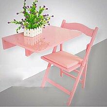 Zhuozi FUFU Wandhalterung Drop Leaf Esstisch Wandmontierte Workstation Massivholz Tisch und Stuhl Set 60 * 40cm Drop-Blatt-Tabelle (Farbe : Pink)