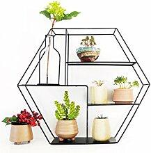 ZI LING SHOP- Kreatives Design Indoor Balkon Mehrgeschossige Wand Hängende Eisen Blume Regal Wohnzimmer Fleisch Pflanze Gruppe Flower racks ( Farbe : Schwarz )