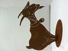 Ziege mit Glocke Gr. II die Kleinere H: 40, B: 50 cm Edelrost von Ferrum, Rost, Garten-Dekoration Figur Skulptur Tier Dekroration