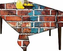 Ziegel Tapete wasserabweisend Tischdecke Esstisch Cover Protector, multi, 54 x 71