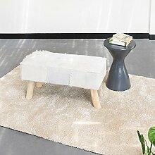 Ziegen-Fell Bank gepolsterte Sitzbank Hocker rechteckig weiß 80x37x41cm