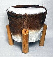 Ziegen-Fell Hocker Schemel rund mit Teakholz-Füßen - braun 42 cm