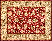 Ziegler Pakistan ca. 190 x 150 cm · Rot · handgeknüpft · Schurwolle · Klassisch · hochwertiger Teppich · 15024
